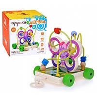 Деревянная игрушка Лабиринт - каталка Бабочка 2 в 1 BeniLo