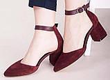 Туфли женские на удобном каблуке из натуральной замши от производителя модель НИ6057-4ОК-2, фото 3