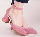 Туфли женские на удобном каблуке из натуральной замши от производителя модель НИ6057-4ОК-2, фото 2