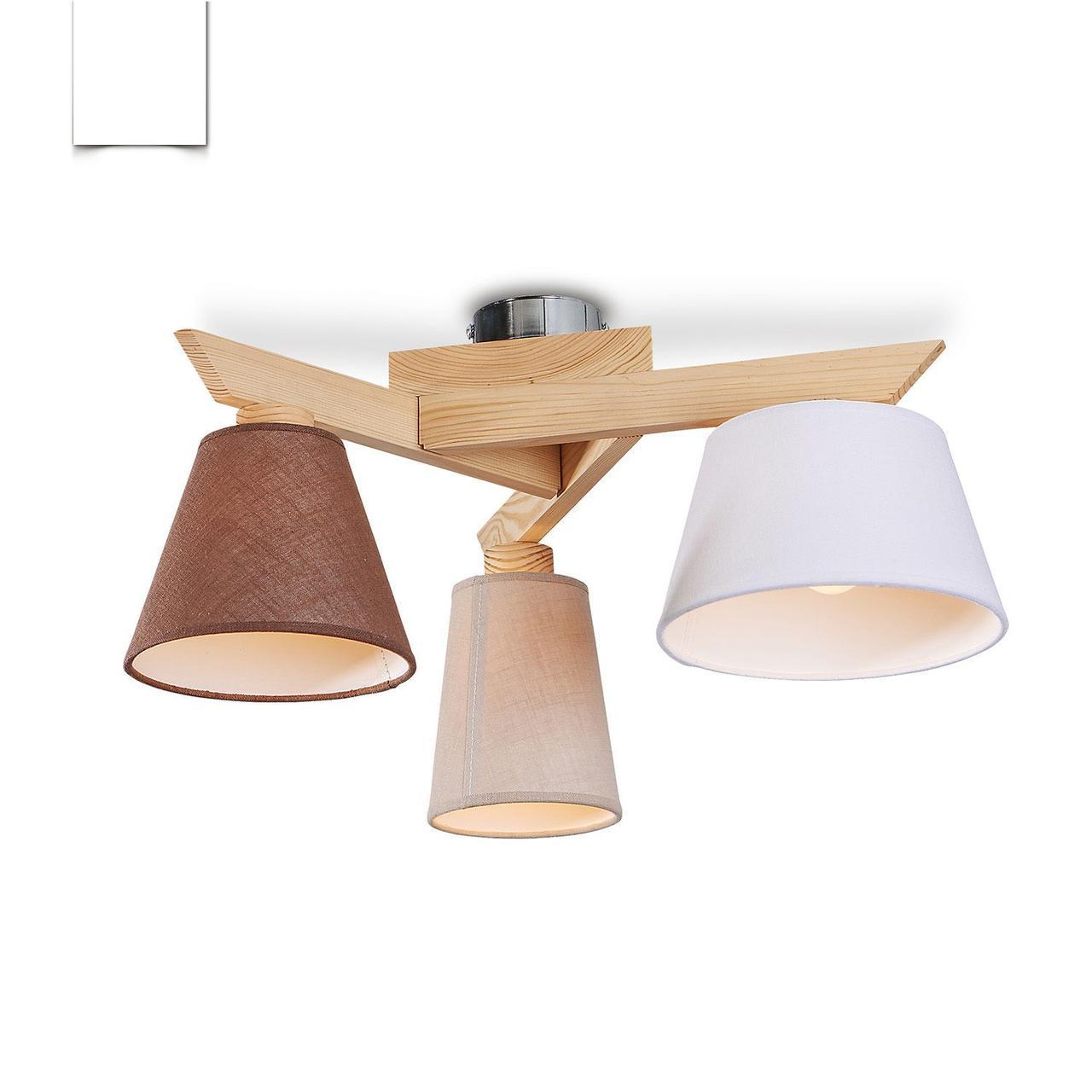 Люстра c різнобарвними абажурами на три лампочки в стилі модерн, дерев'яна, в спальню, кухню,передпокій 40088