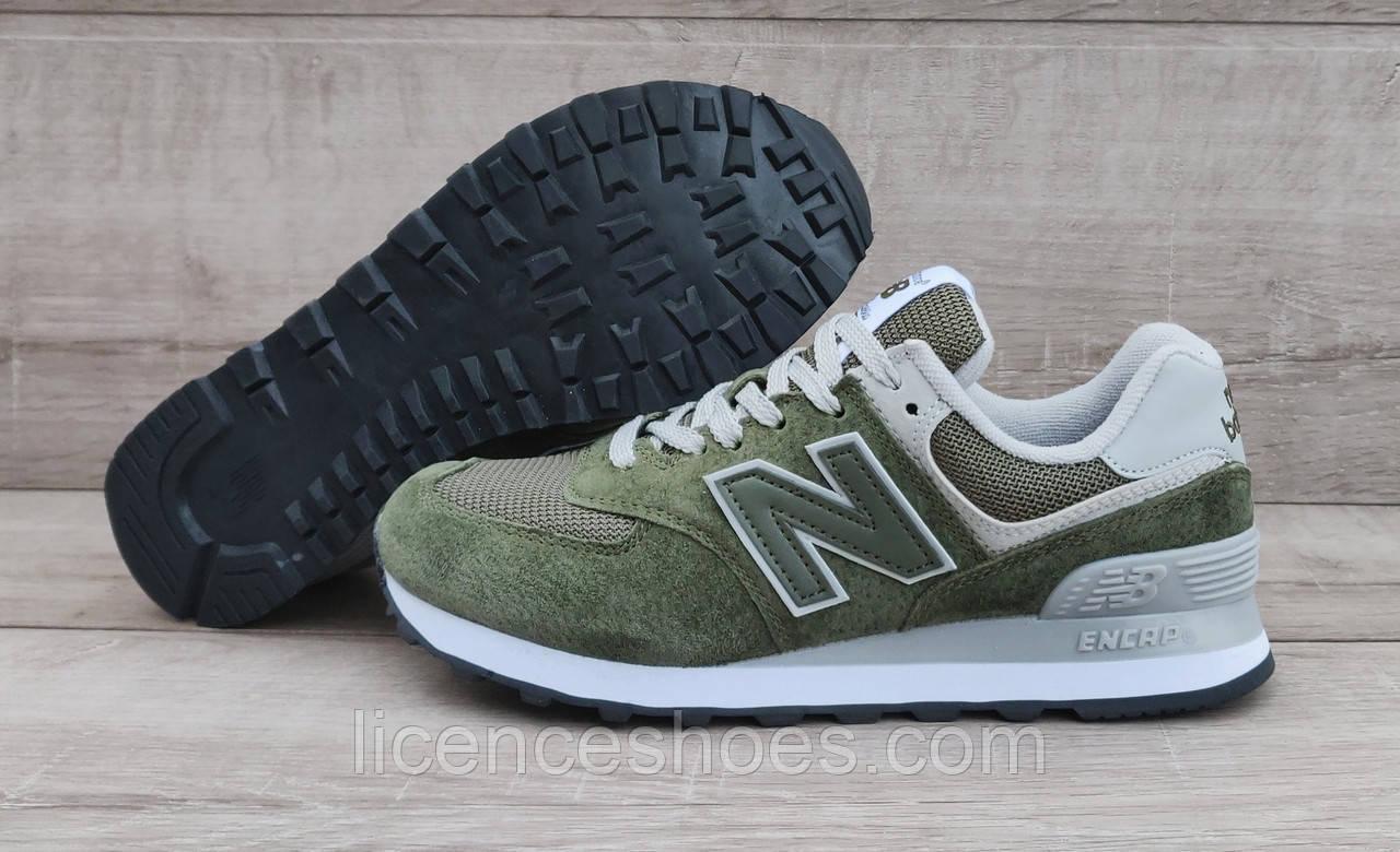 Женские кроссовки New Balance 574 Grey / Khaki Green Army