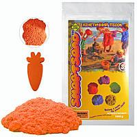 Кинетический песок с блеском для детского творчества Benilo 1 кг Оранжевый