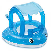 Надувний пліт дитячий для плавання купання з навісом і трусиками Intex Морський скат Блакитний