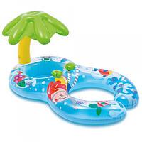 """Надувний пліт коло дитячий для плавання купання з навісом і трусиками Intex """"Острівець"""" 56590 подвійний"""