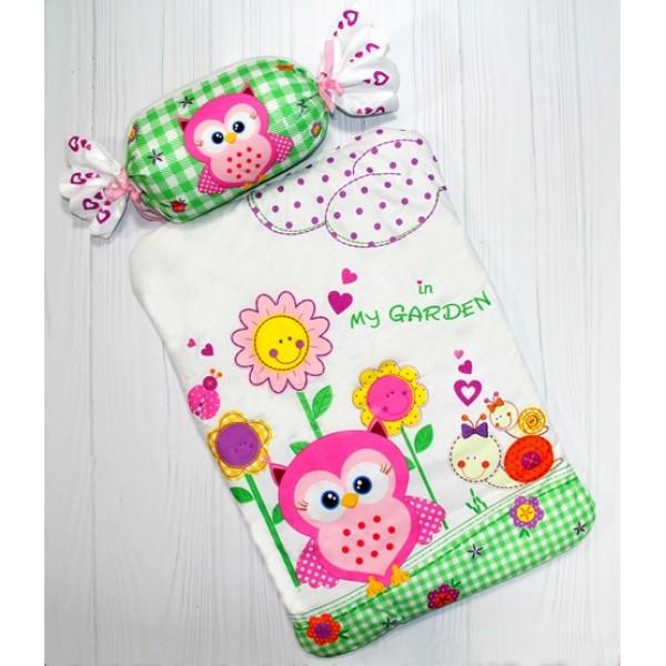 Комплект постельного белья для новорожденного в кроватку и коляску  BeniLo Совушка