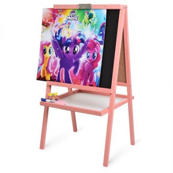 Мольберт двухсторонний Bambi 99х54 см с магнитной доской для рисования мелом и фломастером