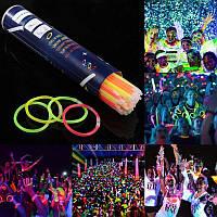100шт. Glow sticks неоновые браслеты глоустик светящаяся палочка (ХИС) набор