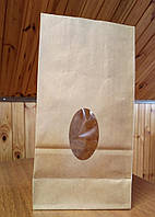 Пакет бумажный подарочный фасовочный чай кофе мука крупа орешки окошко эко крафт 70г/м2 130х75х250 (1000шт/уп)