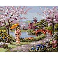 Картина по номерам Цветение сакуры, размер 50*40 см, зарисовка полная