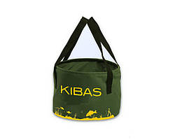 Ведро для прикормки без крышки мягкое сумка для рыбалки Kibas 300х200 мм Зеленый