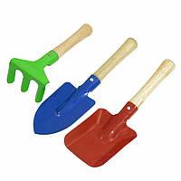Набор садовых инструментов детский 3 шт. лопатка 20 см, грабельки 15 см, лопатка-совок 21 см