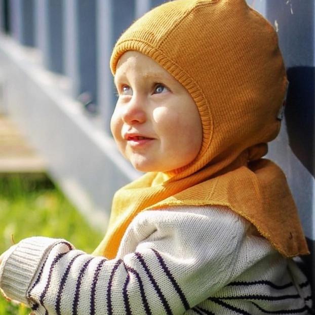 Термошапка-шлем из шерсти мериноса MAM ManyMonths (размер 80-104/110, жёлтый)