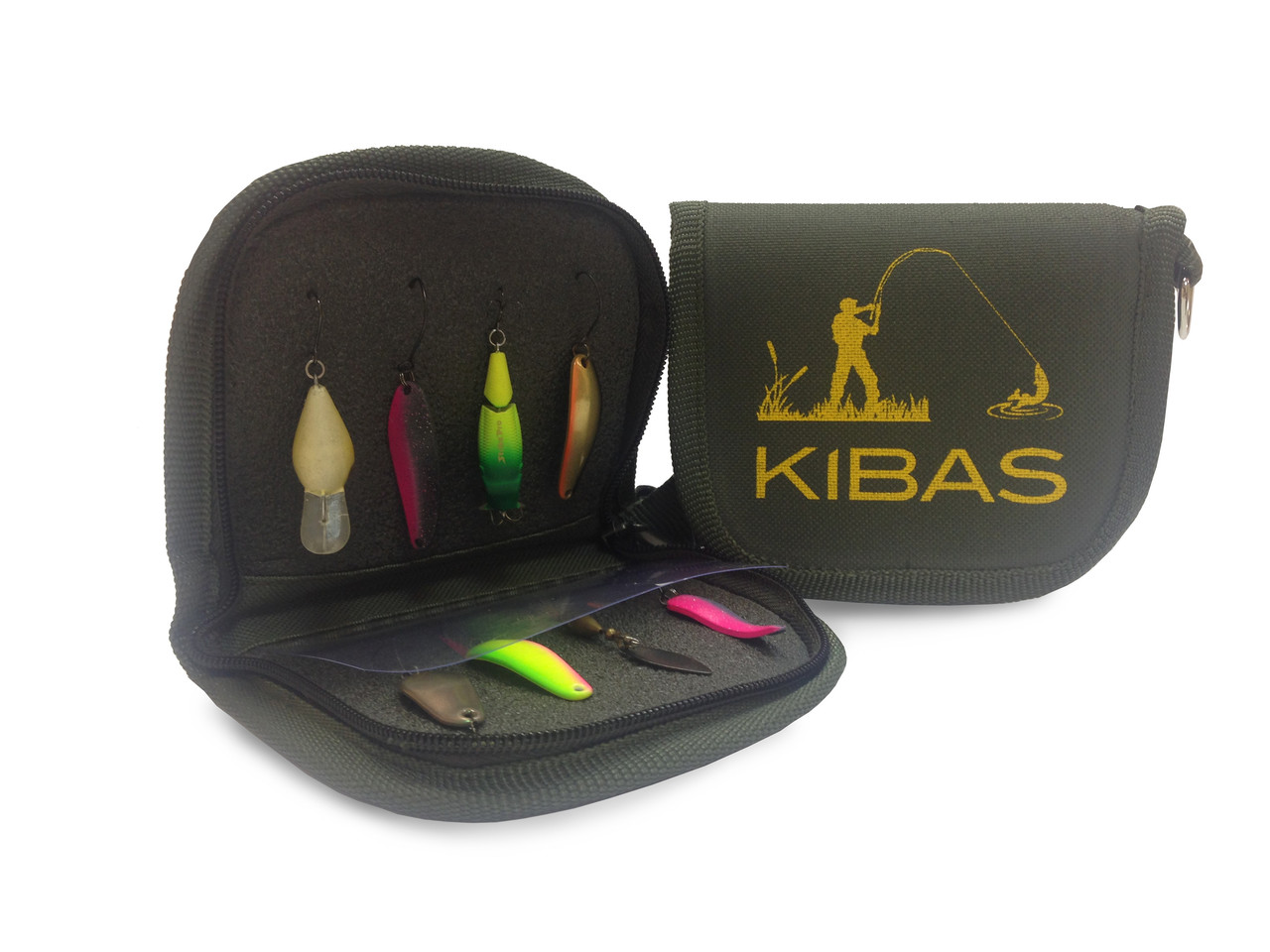 Кошелек сумка чехол для блесен приманок мормышек крючков Kibas (Кибас) 110х100х20 мм Хаки