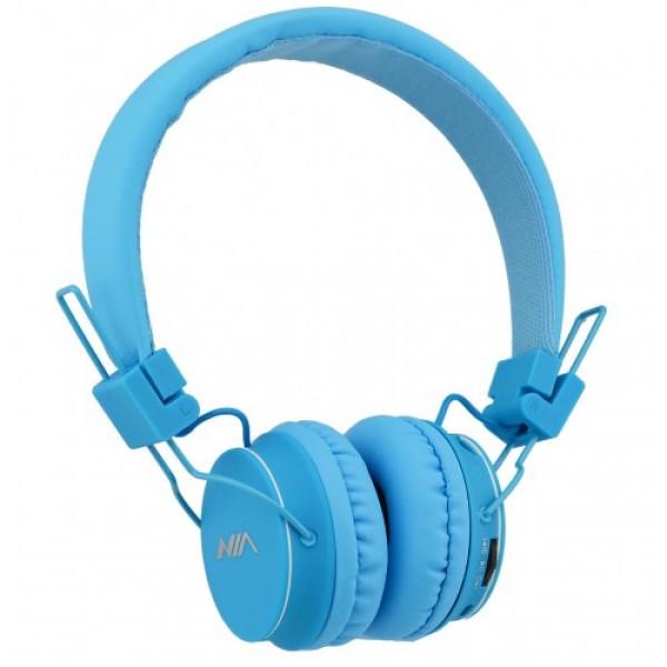 Беспроводные наушники NIA X2 Bluetooth гарнитура c MP3 плеером Радио Голубой