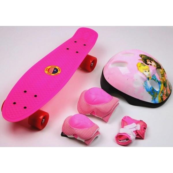 Скейтборд Penny Board Pink комплект з захистом і шоломом