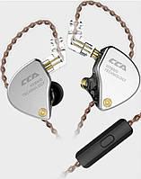Наушники проводные KZ CCA - CA4 Mic гибридные Original Серый с чёрным (1025а)