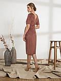 Стильное платье из вельвета с коротким рукавои и разрезом спереди, фото 5