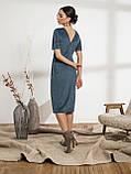 Стильное платье из вельвета с коротким рукавои и разрезом спереди, фото 2