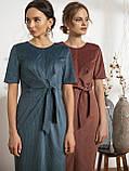 Стильное платье из вельвета с коротким рукавои и разрезом спереди, фото 3