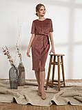 Стильное платье из вельвета с коротким рукавои и разрезом спереди, фото 4