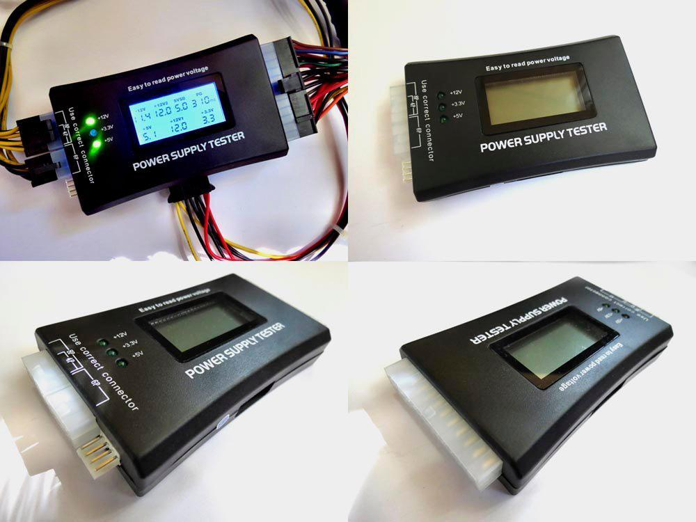 Тестер блоков питания ATX, BTX, ITX с ЖК-дисплеем 20/24pin SATA Molex