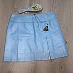 Юбка из натуральной кожи , голубая , трапеция  44-46 , эксклюзив 1 шт, фото 3
