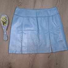 Юбка из натуральной кожи , голубая , трапеция  44-46 , эксклюзив 1 шт