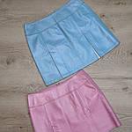 Юбка из натуральной кожи , голубая , трапеция  44-46 , эксклюзив 1 шт, фото 2
