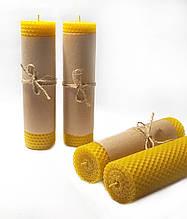Свечи из вощины катаные ручной работы (высота 18 см диаметр 3,3 см)