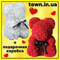 Мишка из роз в подарочной коробке 25 см КРАСНЫЙ, фото 1
