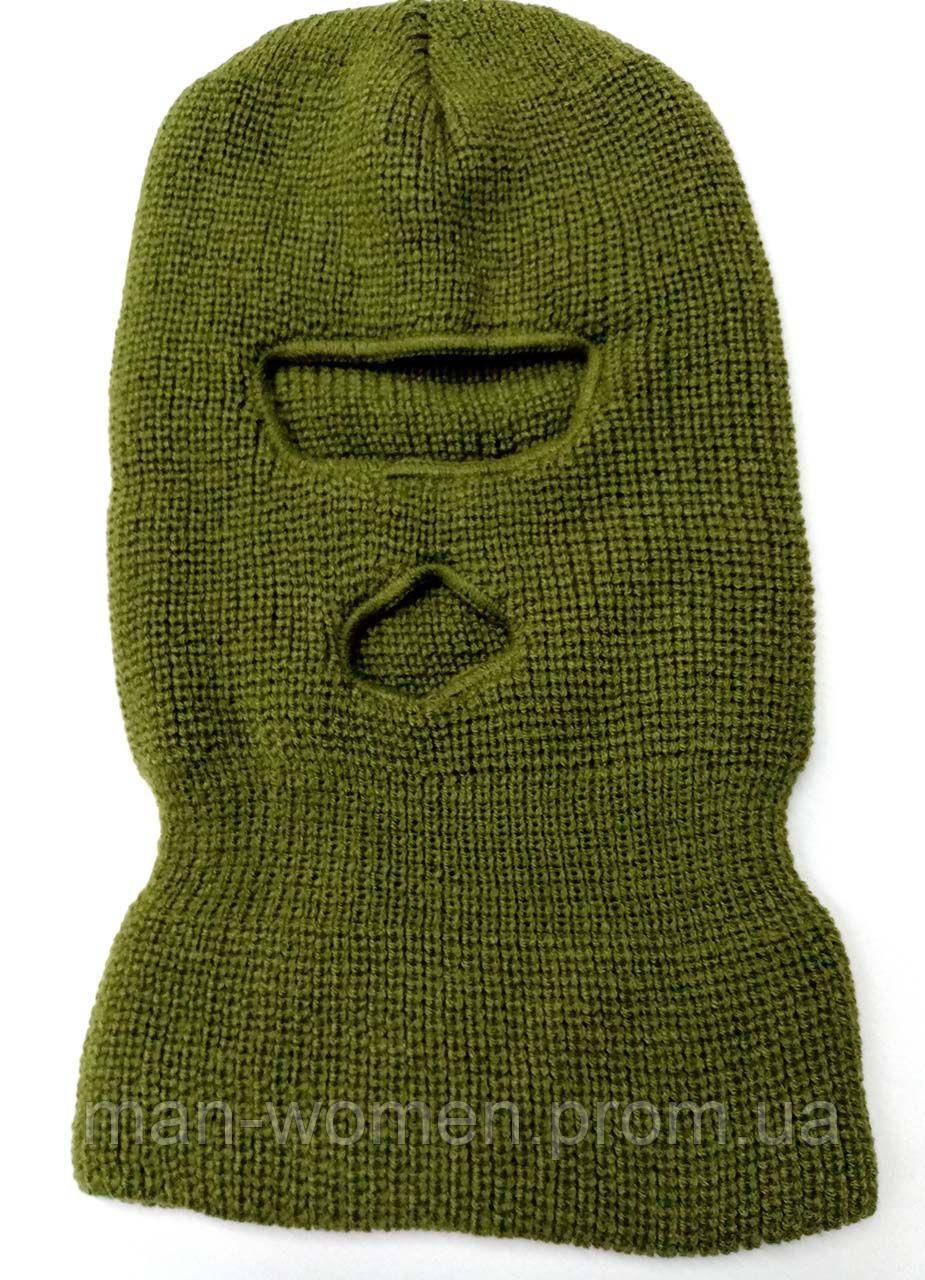 Маскировочная зимняя балаклава из вязанной пряжи.