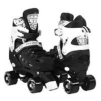Коньки роликовые на 4 колеса Квады с регулировкой размера унисекс размер 34-38 Scale Sports Черные