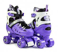 Ролики квады для детей раздвижные с двойными колесами размер 34-38 для девочек Scale Sports Фиолетовые