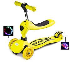 Самокат-трансформер для детей Scale Sports 4 светящихся колеса Желтый