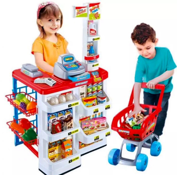 """Детский игровой набор """"Супермаркет"""" с прилавком, кассой и тележкой"""