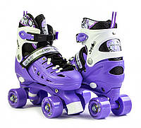 Квады ролики раздвижные для детей с регулировкой размера четырехколесные 29-33 Scale Sports Фиолетовые, фото 1