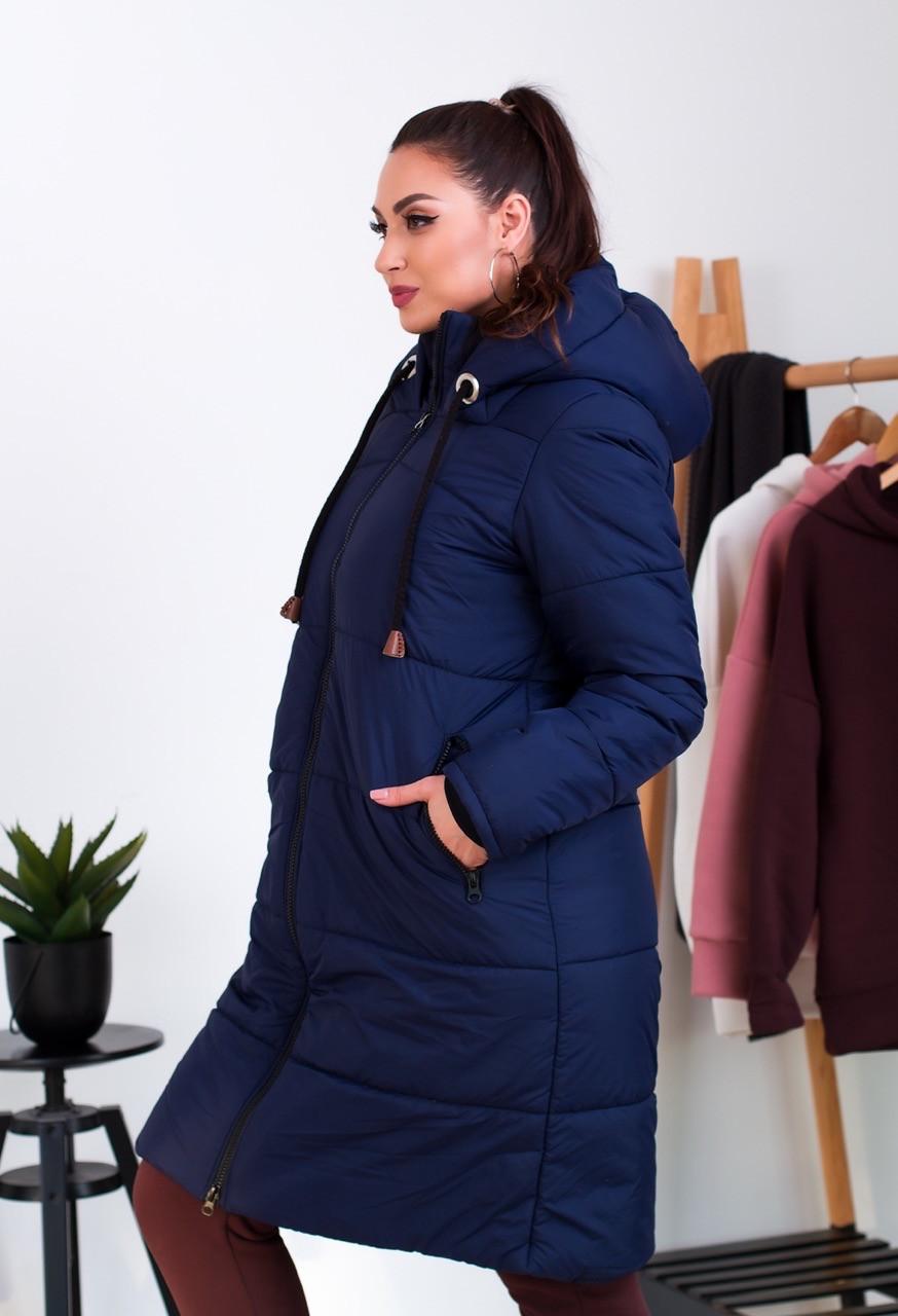 Пальто женское зимнее из плащевки с меховой подкладкой на молнии (К29514)