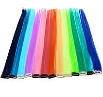 Цветные пряди на заколках 40 см накладные волосы термостойкие, 10 шт