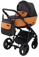 Детская коляска 2 в 1 Bair Mirello кожа M30/05 черный - карамель, фото 1