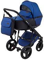 Коляска детская 2 в 1 Richmond Mirello Plus кожа 100% темно-синий перламутр - черный