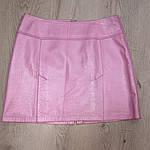 Юбка из натуральной кожи , розовая , трапеция  42-44 , эксклюзив 1 шт, смотрите видео, фото 2