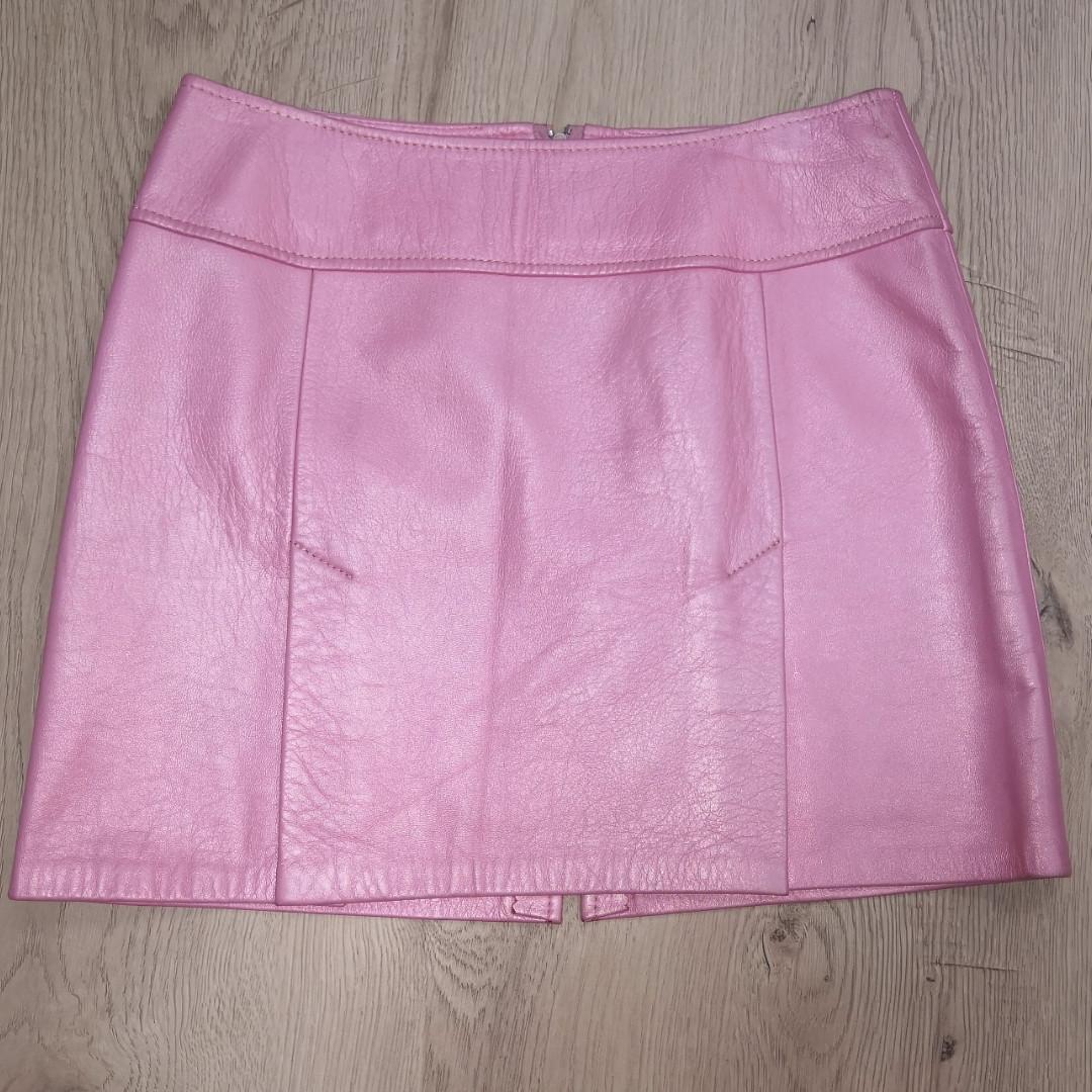 Юбка из натуральной кожи , розовая , трапеция  42-44 , эксклюзив 1 шт, смотрите видео