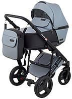 Коляска детская 2 в 1 Richmond Mirello Plus кожа 100% серый перламутр - черный