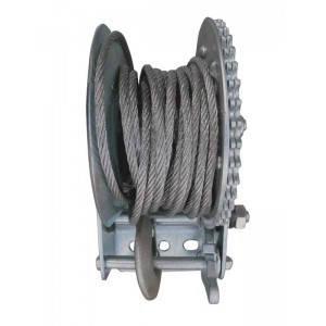 Лебедка барабанная ручная 450кг (1000lbs), стальной трос Jobi Profi 19796, фото 2