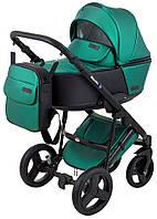 Коляска детская 2 в 1 Bair Mirello Plus кожа 100% MP35 зеленый перламутр - черный