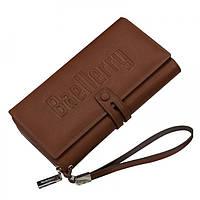 Мужской кошелек, портмоне Baellerry, кожаный, бумажник, цвет - коричневый