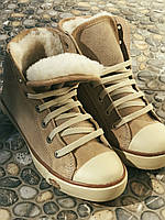 Кеды кожаные женские бежевые замшевые демисезонные 38