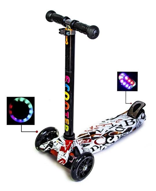 Самокат трехколесный детский Maxi светящиеся колеса принт ABC