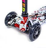 Самокат трехколесный детский Maxi светящиеся колеса принт ABC, фото 2