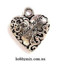 "Метал. подвеска ""сердечко"" серебро (1,5х1,6 см) 5 шт в уп."
